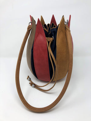 By-Lin Tulip Leather Bag - Red/Cognac/Taupe