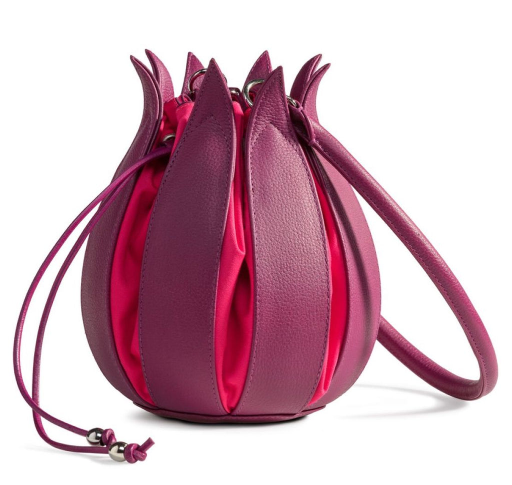 Tulip Leather Bag - Fuchsia with Pink Lining - Medium