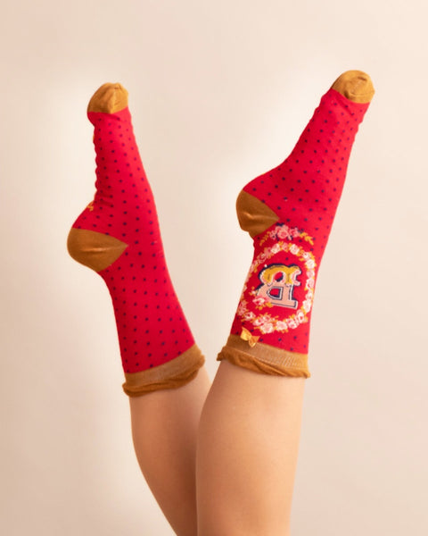A-Z  Ladies Powder Socks - B