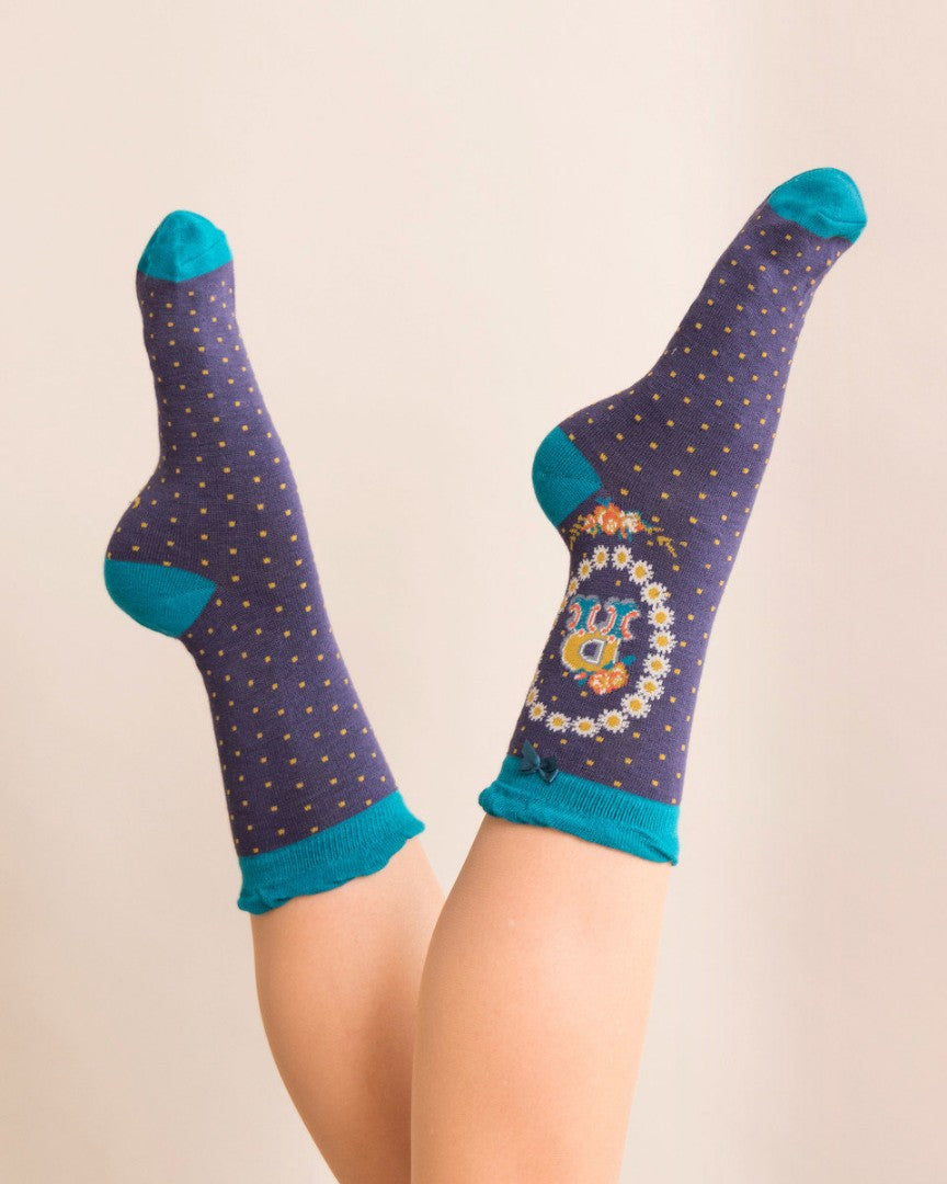 A-Z  Ladies Powder Socks - R