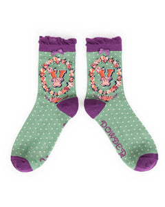 A-Z  Ladies Powder Socks - V