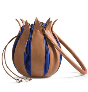 Tulip Leather Bag - Cognac Blue Cobalt