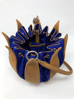 By-Lin Tulip Leather Bag - Cognac Blue Cobalt