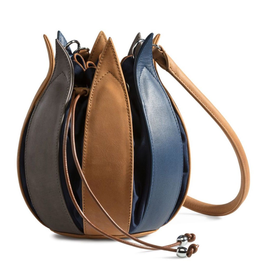 Tulip Leather Bag - Blue Cognac Grey, Navy Lining