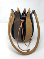 By-Lin Tulip Leather Bag - Blue Cognac Grey, Navy Lining