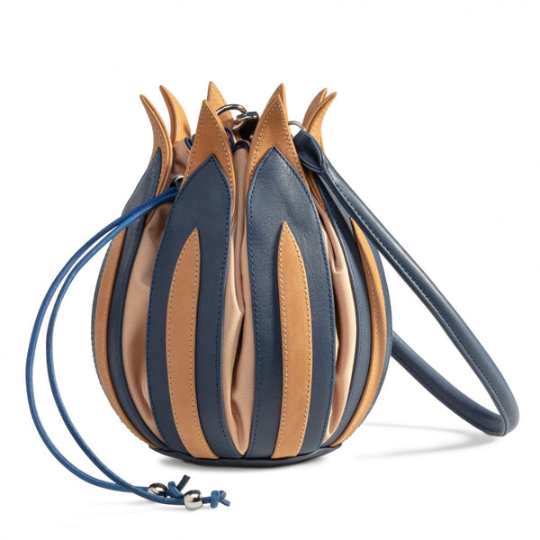 Tulip Leather Bag - Blue Cognac, Camel Lining