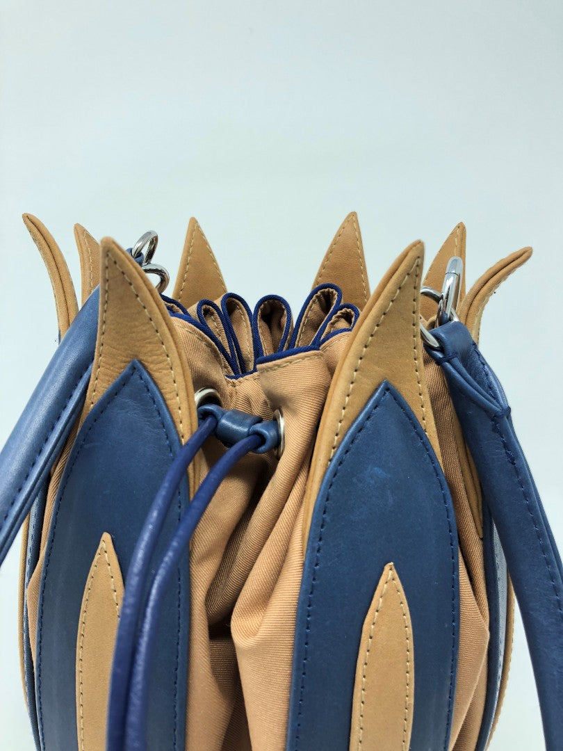 By-Lin Tulip Leather Bag - Blue Cognac, Camel Lining