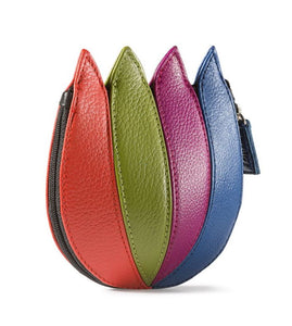 Tulip Leather Purse - Multi Colour Red Green Blue