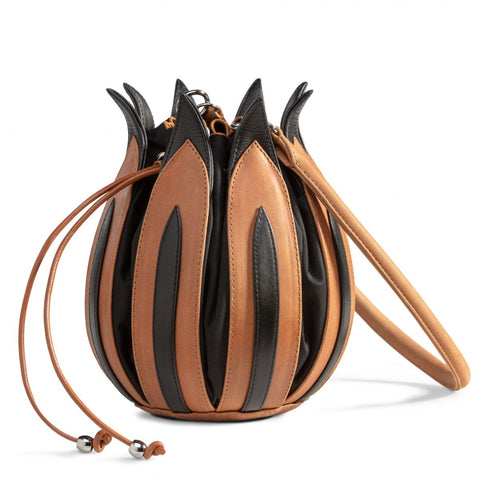 Tulip Leather Bag - Cognac & Black, Black lining