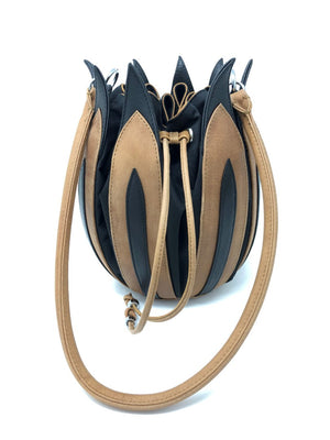 By-Lin Tulip Leather Bag - Cognac & Black, Black lining