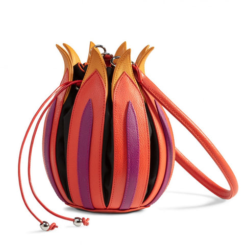 Tulip Leather Bag - Orange, Purple, Yellow - Black lining