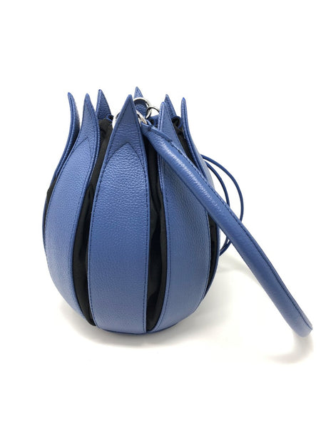 By-Lin Tulip Leather Bag - Cobalt, Black lining
