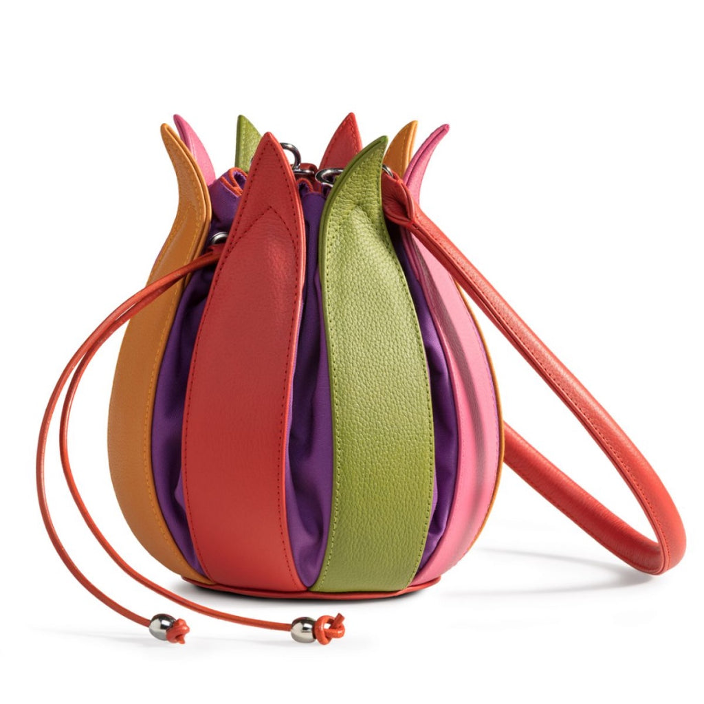 Tulip Leather Bag - Multi Coloured with Purple Lining