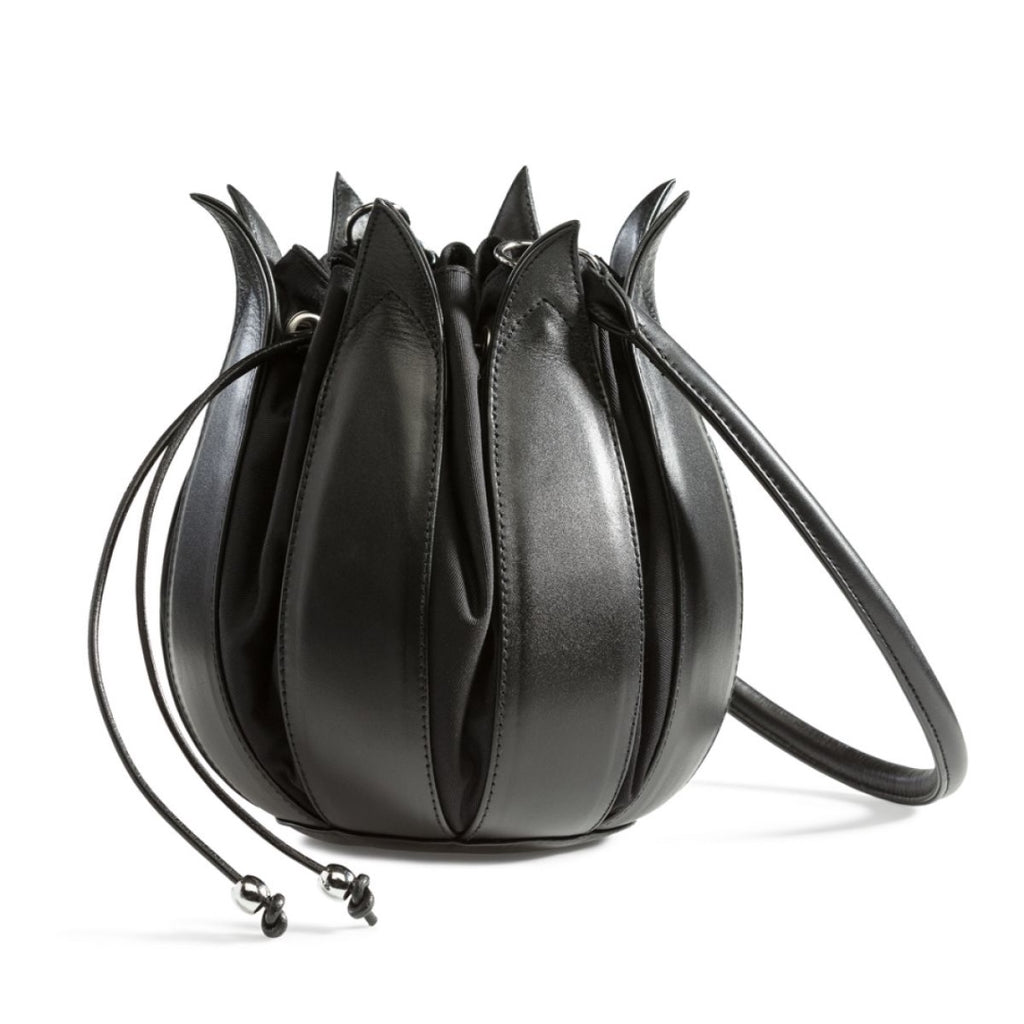 Tulip Leather Bag - Black with Black Lining