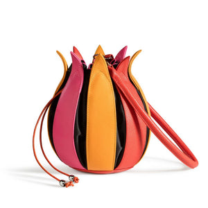 Tulip Leather Bag - Pink/Yellow/Orange with Black Lining - Medium