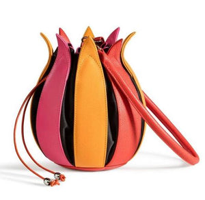 By-Lin Tulip Leather Bag - Pink/Yellow/Orange with Black Lining