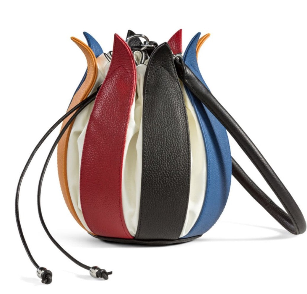 Tulip Leather Bag - Mondriaan with White Lining - Medium