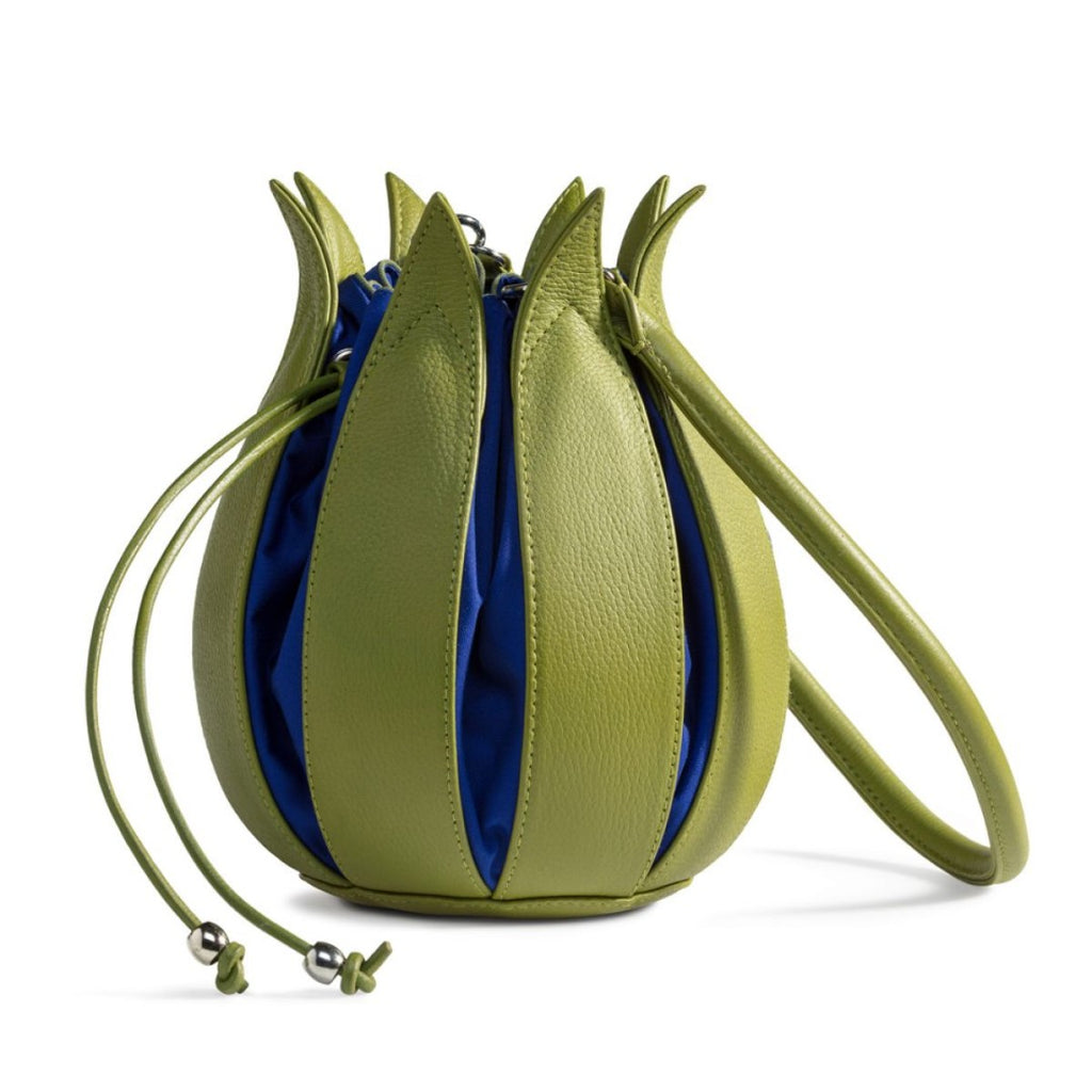 Tulip Leather Bag - Lime with Cobalt Lining - Medium
