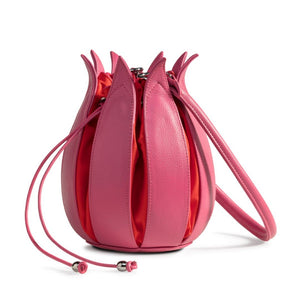 Tulip Leather Bag - Pink with Orange Lining - Medium