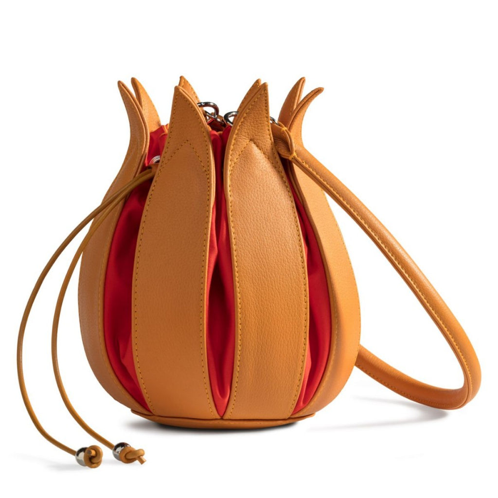 Tulip Leather Bag - Yellow with Orange Lining - Medium