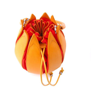 By-Lin Tulip Leather Bag - Yellow with Orange Lining