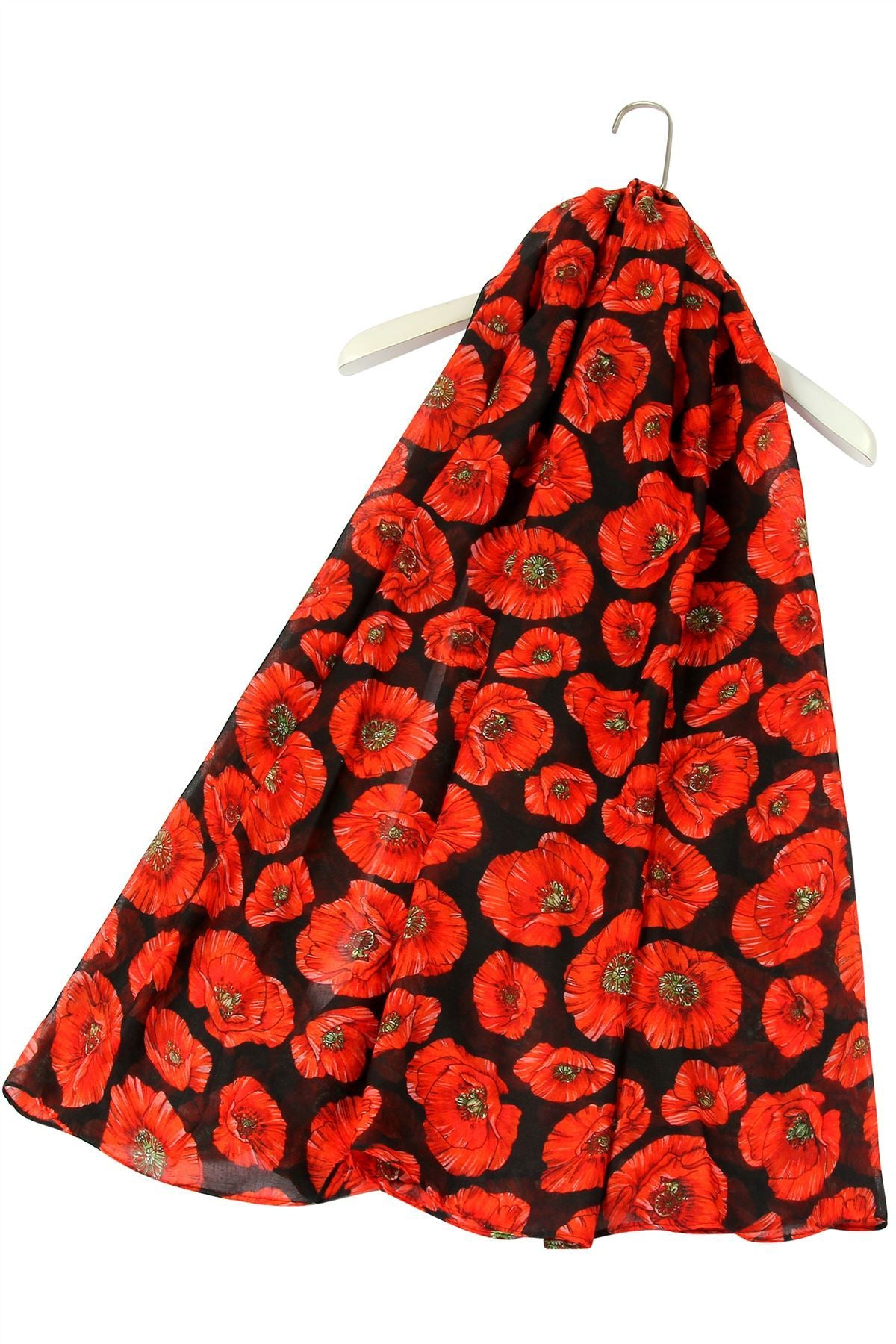 Detailed Poppy Print Scarf - Black