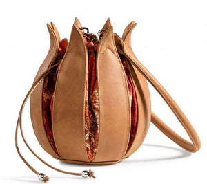 By-Lin Tulip Leather Bag - Cognac with Bali Batik Lining