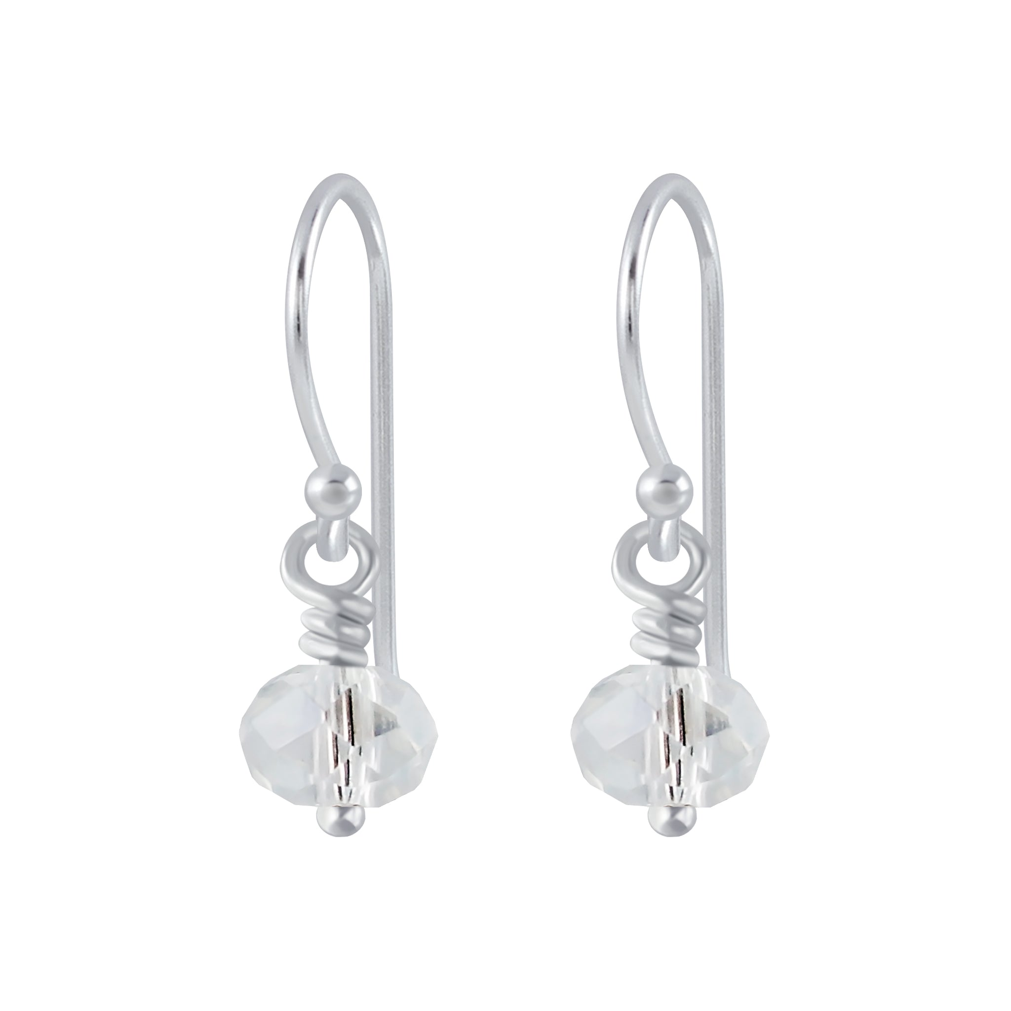 Silver Handmade Bead Earrings - Crystal