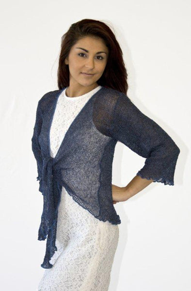 Knitted Shrug Cardigan - Navy