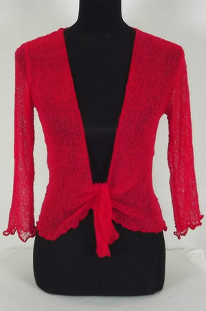 Knitted Shrug Cardigan - Red