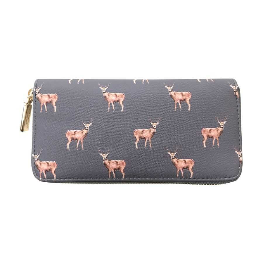 Grey Stags Printed Purse by Red Cuckoo