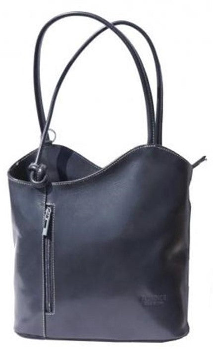 Leather Handbag Backpack - Gunmetal Grey
