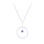 Silver Geometric Necklace - Amethyst