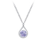 Silver Teardrop Necklace - Lavender