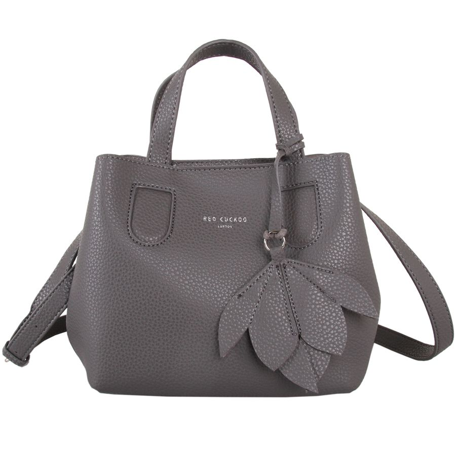 Grey Grab Bag with Flower Detail by Red Cuckoo