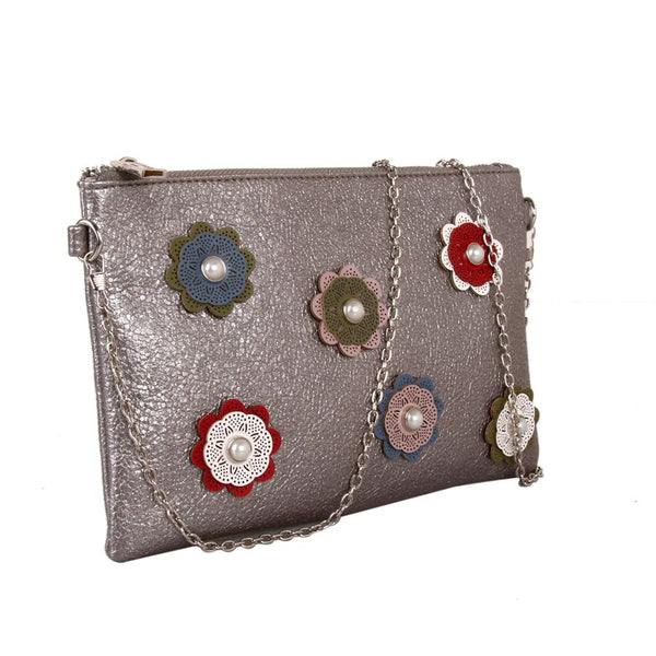 Grey Flower Clutch by Red Cuckoo