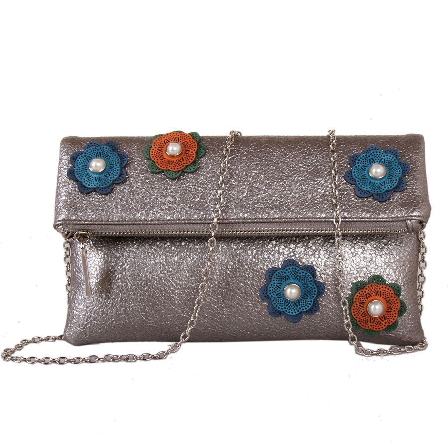 Grey Foldover Flower Clutch by Red Cuckoo
