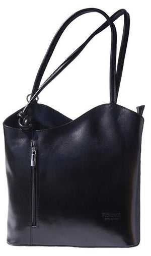 Leather Handbag Backpack - Black Leather