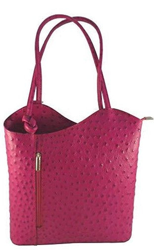 Ostrich Effect Leather Handbag Backpack - Fuchsia