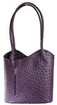 Leather Handbag Backpack Ostrich Finish - Purple