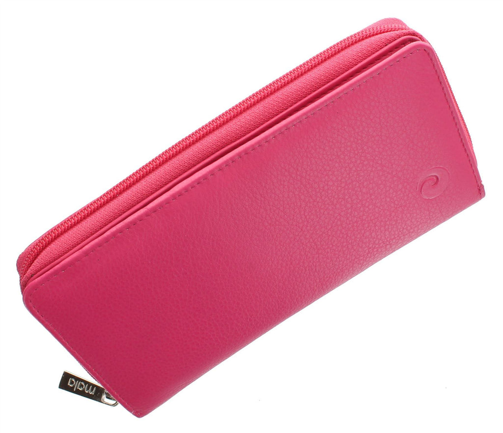 Mala Leather Purse - Large Pink Card & Coin Purse