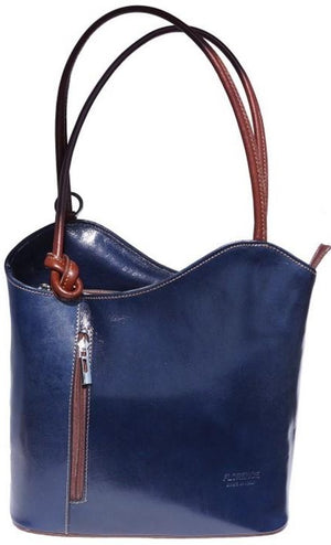 Leather Backpack Handbag - Navy/Tan