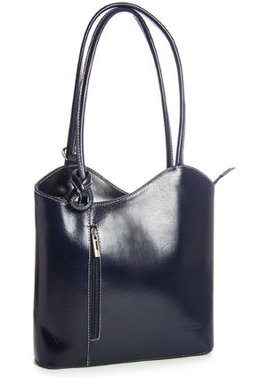 Leather Backpack Handbag - Navy