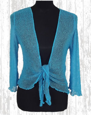 Knitted Shrug Cardigan - Turquoise