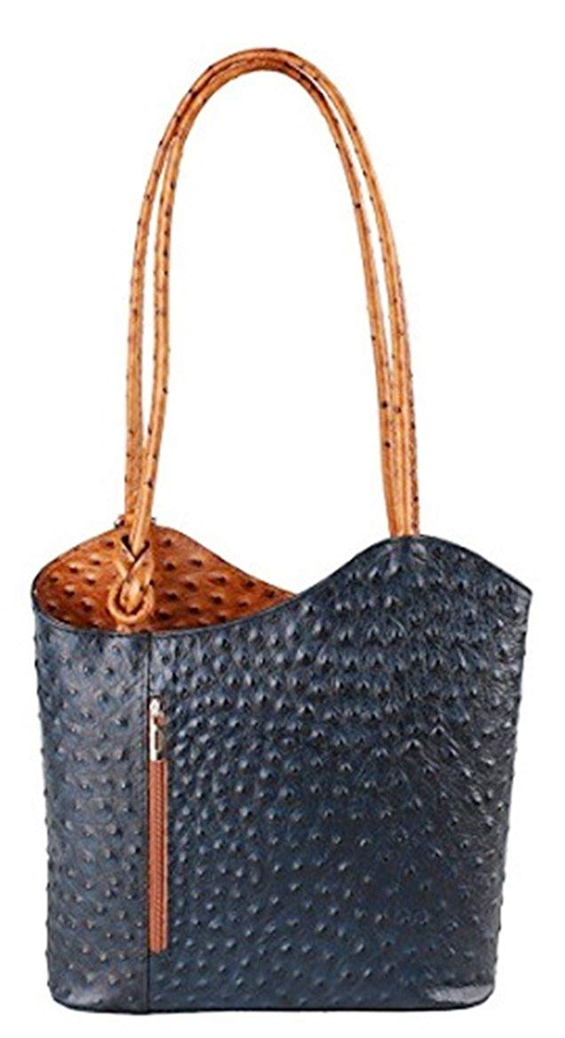 Ostrich Effect Leather Handbag Backpack - Navy & Tan