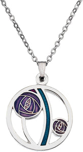 Rennie Mackintosh Rose & Bar Necklace -  Purple Turquoise