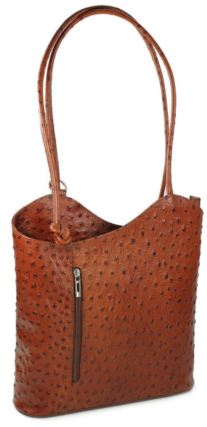 Leather Backpack Handbag - Dark Tan