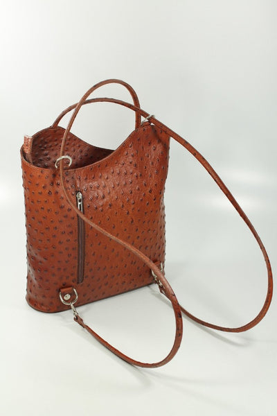 Ostrich Effect Leather Backpack Handbag - Dark Tan