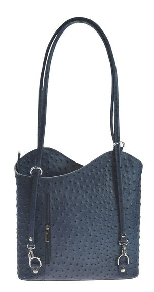 Leather Backpack Handbag Ostrich Finish - Navy