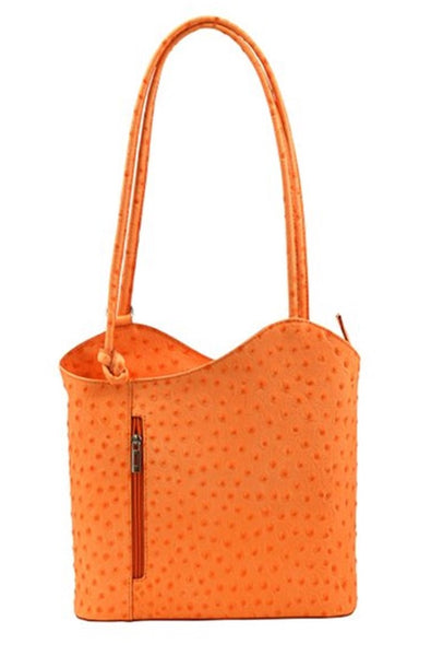 Leather Ostrich Backpack Handbag - Orange